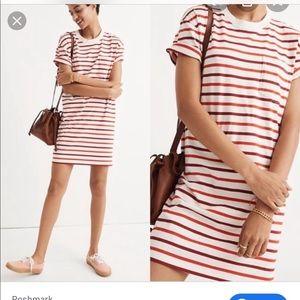 Madewell Striped Red White Shirt Dress